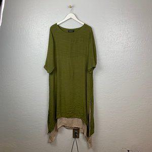 Gracila Olive Green Khaki Long Layered Dress